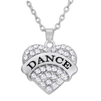 Lead And Nickel Free Dance Clear/Pink/Blue Crystal Silver Heart Chain Necklace