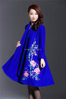 2016 Long sleeve round collar embroidered women long cashmere blue trench Coat