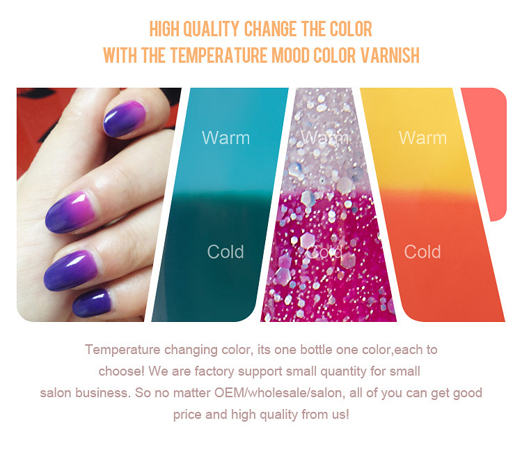 Hot Temperature Changing Color Non-wipe Coat Diy Drawing Nail Top ...