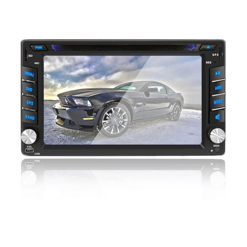 6.2 inch Double DIN Car Stereo In-Dash DVD player GPS Navigation For Car with Rear View Camera,Support Offline GPS Navigation, TouchScreen Car Stereo + Free Rear View Camera