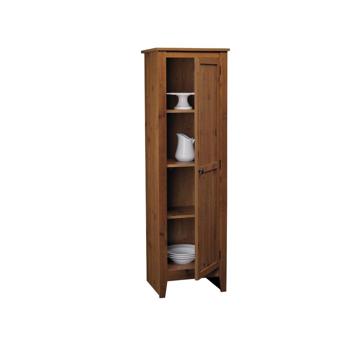 Buy Adeptus Solid Wood Single Door Pantry Cabinet Pecan Finish In