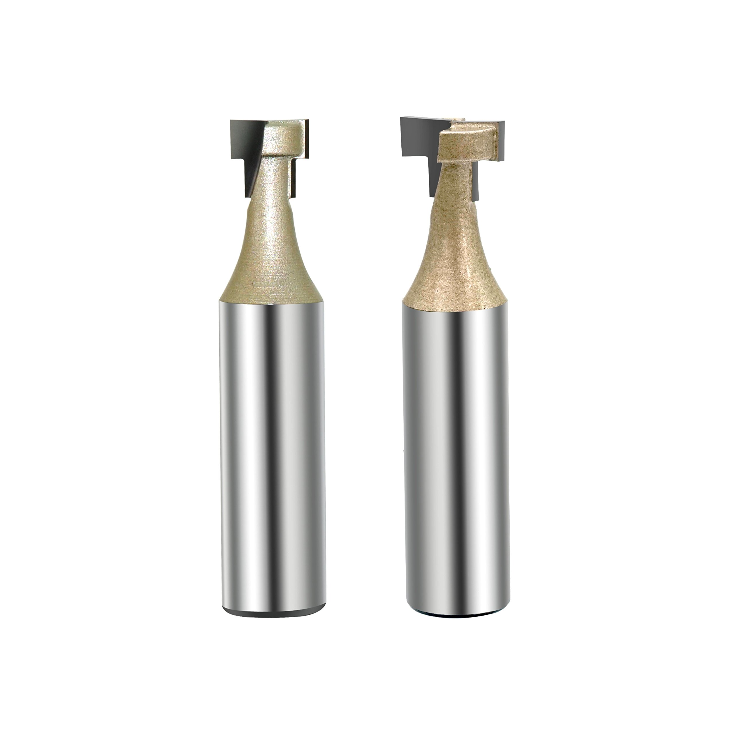 Gazeto 2pcs Carbide Tipped CNC Keyhole Router Bit Cutter Set, 3/8-Inch and 1/2-Inch Cutting Diameter, 1/2-Inch Shank, 3/16-Inch Cutting Length