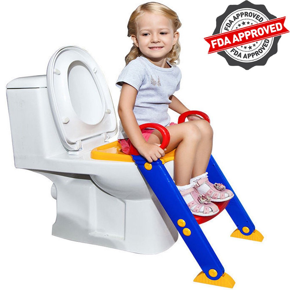 FLASH SALE | Potty Toilet Seat with Step Stool Ladder | Portable Trainer for Kids with Handles, Sturdy and Safe | Best Age is 1, 2, 3 and 4 Year Old Boys and Girls