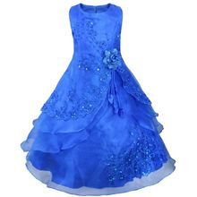 Embroidered Flower Girl Dress Kids Pageant Party Wedding Bridesmaid Ball Gown Princess Formal Occassion Long Dress