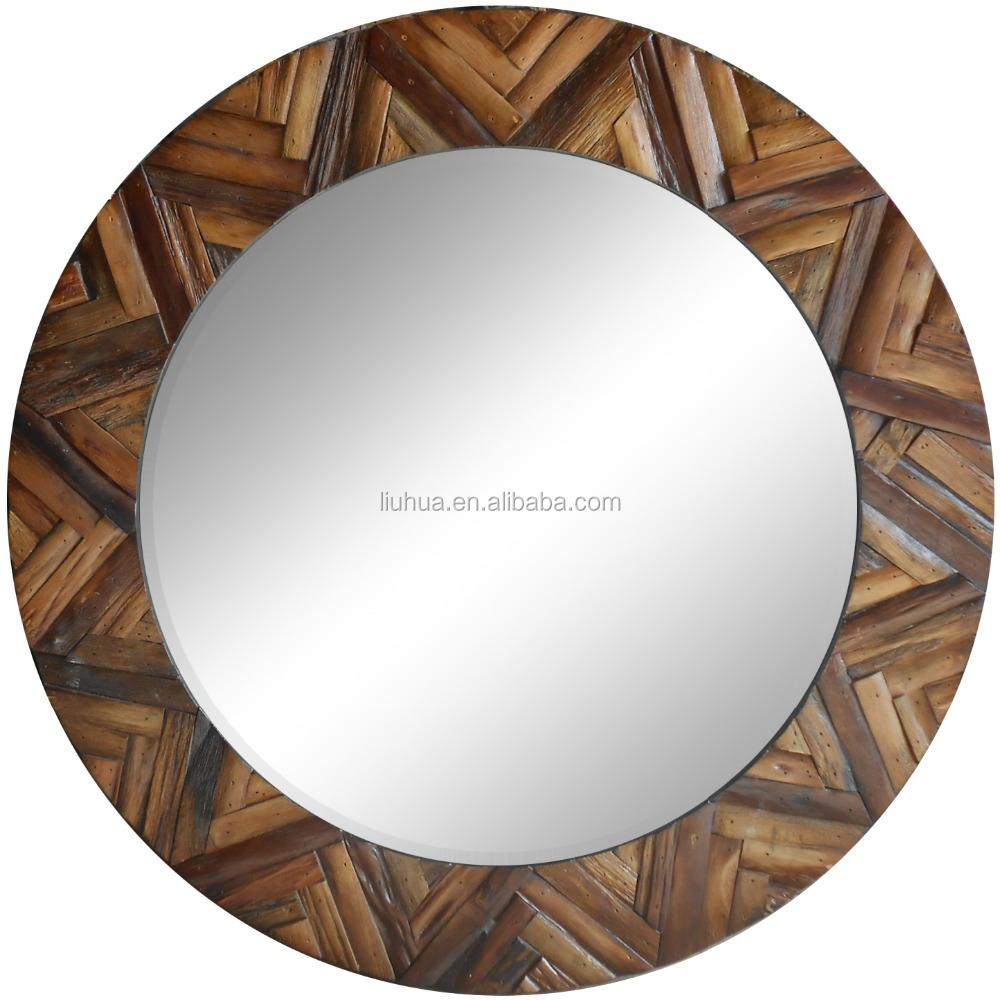 Cuadro espejo de madera espejo redondo para el hogar for Espejos redondos para decorar