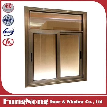 Aluminium Brown Color Side Sliding Window With Frosted