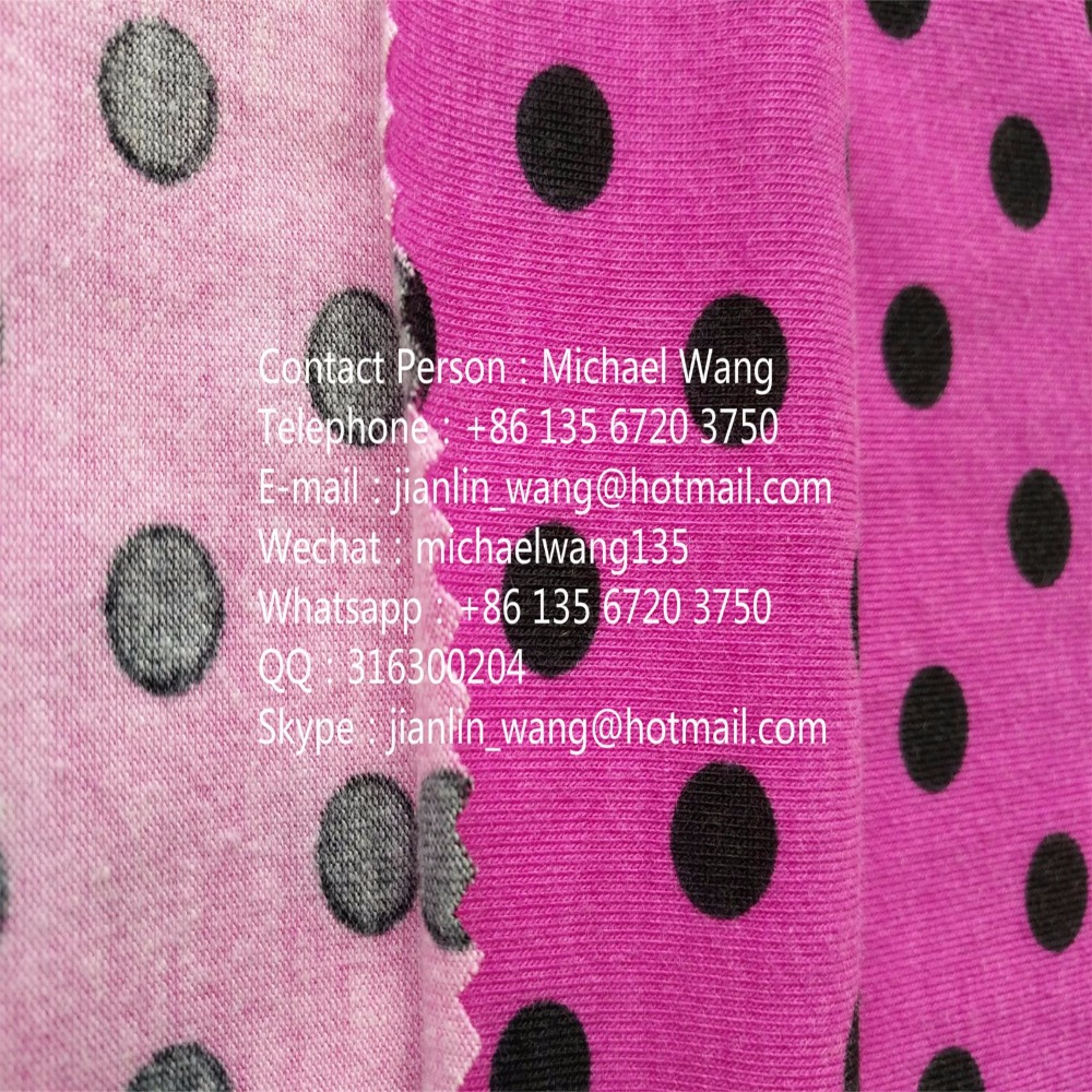 30S combed cotton spandex fabric knitted single jersey printed fabric