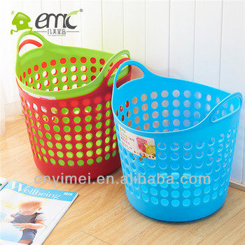 Round Pe Plastic Storage Basket Laundry With Handle 27 5l