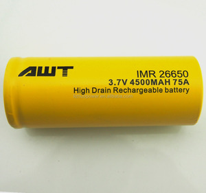 China supplier AWT 26650 4500mah 3.7v 75A 7.2v lipo battery topcon total station batteries for vapor mod ipv4s
