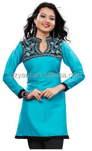 Indian Women Clothing Silk Indian Tunics Kurti Top Long Blouse ...