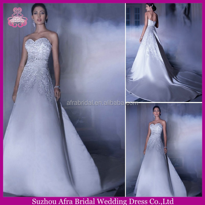 SD925 sweetheart bling satin a line wedding dress pattern bohemian style wedding dress with long train
