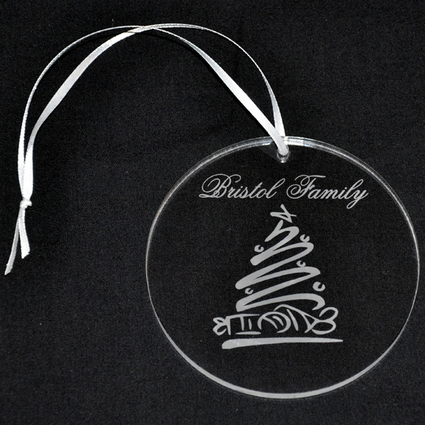 Clear Personalized Acrylic Ornament With Engraved Whimsical Tree ...