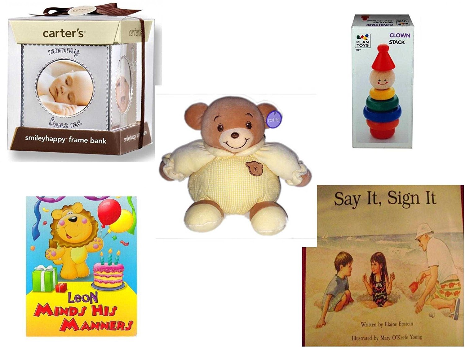 Children's Gift Bundle - Ages 0-2 [5 Piece] - Carter's Smily Happy Frame Bank, Silver - Clown Stack - Baby Bow Bear Rattle Plush - Leon Minds His Manners Board Book - Say It, Sign It