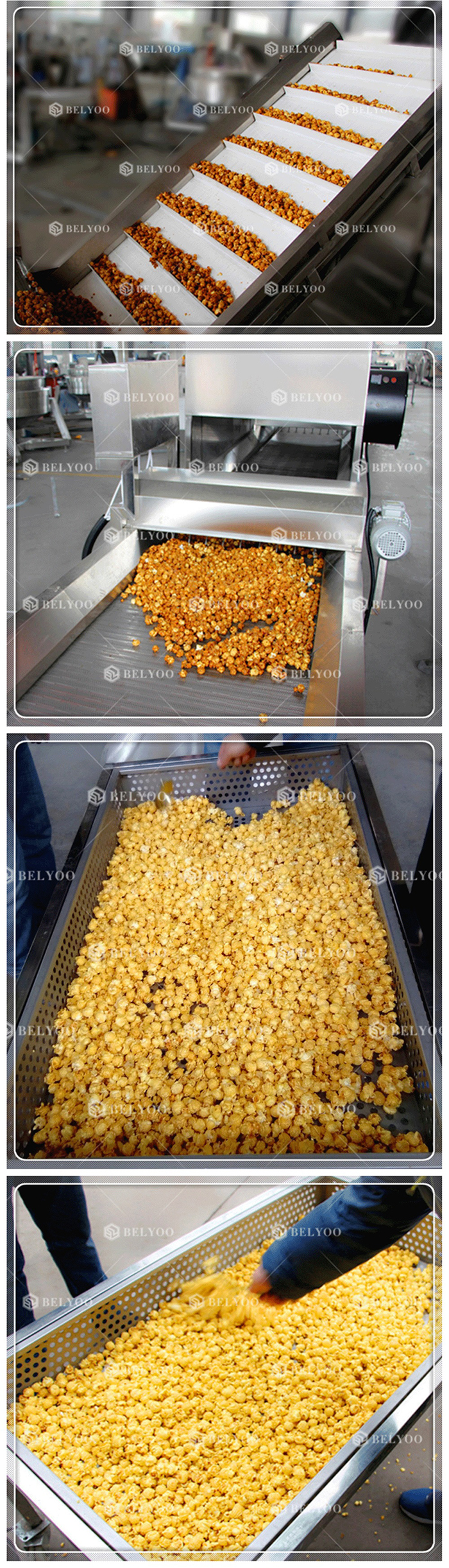 Fully automatic strawberry chocolate corn commercial popcorn maker processing machines puffing gas popcorn making machine