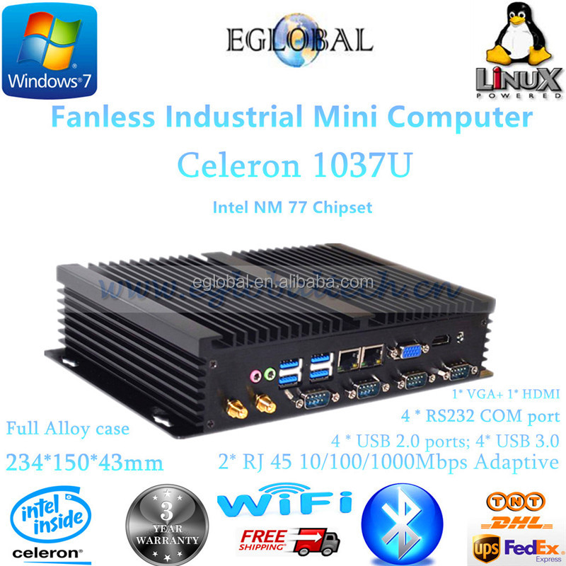 Industrial Fanless Mini PC Desktop Computer Celeron 1037U with Dual RJ45 and 4 COM RS232 Port 1* VGA+ 1* HDMI