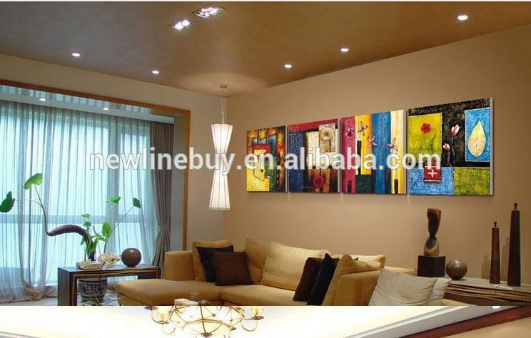 Livraison gratuite couleur chaude 4 panneaux combinaison moderne salon peintu - Couleur chaude salon ...