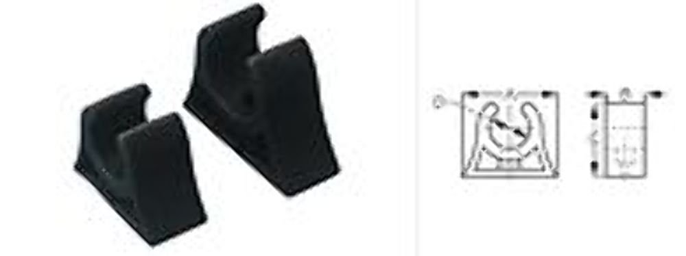 """Pole Storage Clips 3/4"""" Molded Rubber 2.25"""" Base 2 per pack"""