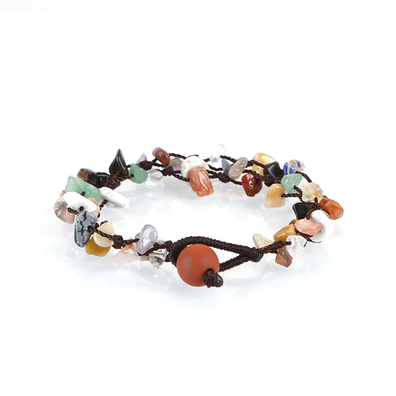 Double layer mixed color 7 chakra gemstone chip bracelets for party