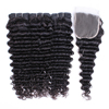 free shipping natural color deep wave hair bundles with closure virgin Indian human hair weaving