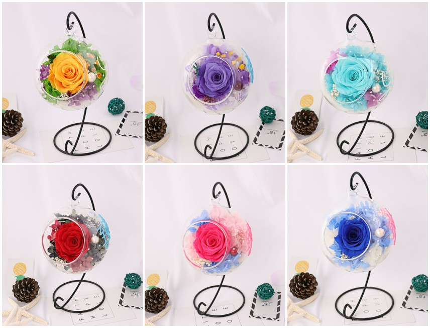 New Year Gift Glass Ball Preserved Rose Flower For ...