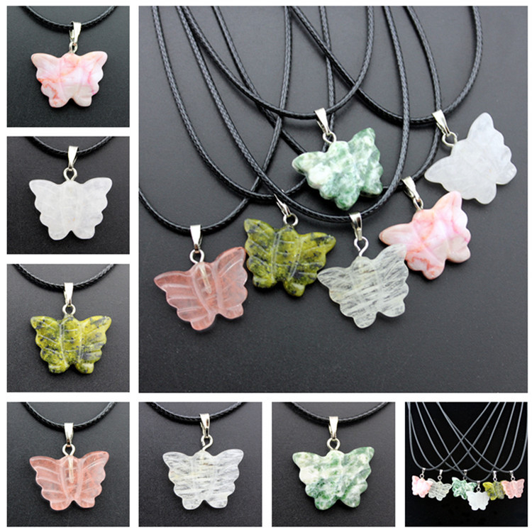 natural stone butterfly pendants charms stone crystal butterfly pendant for necklace jewelry