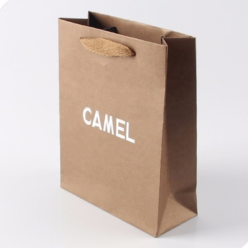 Embossing Silver Hot Stamping Logo Brown Kraft Paper Bag With Handles Bags Favor Product On