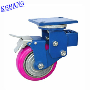 big blue or pink locking removable caster hot wheel with cross spring shock absorption