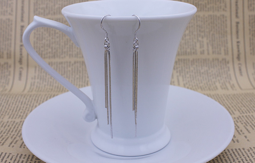 Three lines tassels 925 sterling silver earring women long earrings