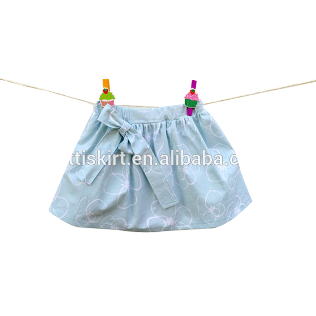 Light blue skirts children's clothing baby girl dresses elastic waistband ruffle skirt