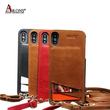 Factory price wholesale Protective Lanyard luxury custom cell genuine leather phone case for iPhone X