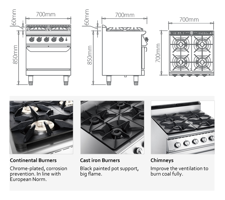 European Standard Good Price 900 Series 4 Burners Gas Cooking Range With Oven