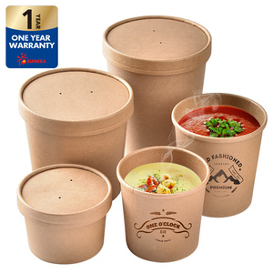 Custom printed disposable hot soup bowls, kraft paper soup cup
