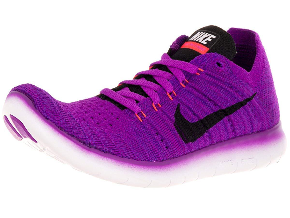 Nike Women's Free Running Motion Flyknit Shoes, Hyper Violet/Total Crimson/Laser Orange/Black - 8.5 B(M) US