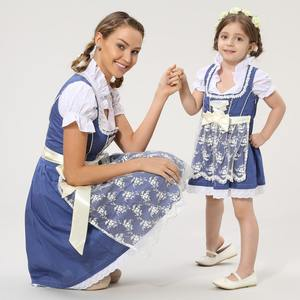 bavarian long dirndle dress and child dirndl family set