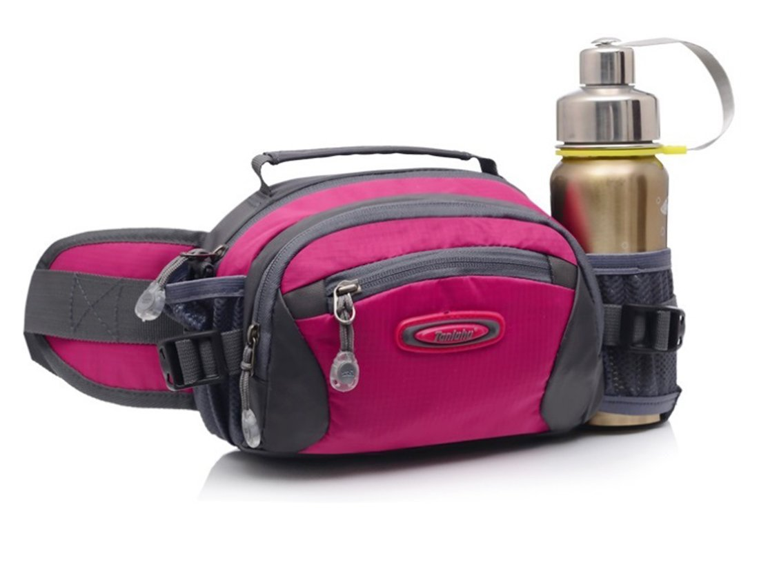 Selighting Outdoor Waist Bag Packs Waterproof Large Fanny Pack with Water Bottle Holder Travel Hiking Daypacks Walking Running Waist Belt Pouch Bag Bum Hip Pack for Men Women