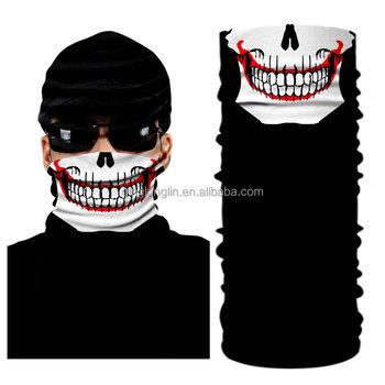 SeamlessTube Skull Scarf Bandana Scarf Headwear Wrap of Neck Gaiter Skiing  Skull Ghost Bandana with sun 2949e385522