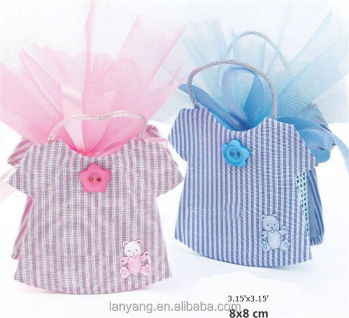 Rattan Baby Boy Favors Bags Baptism Gift Girl Christening Birthday Party Decor Organza Candy Bags