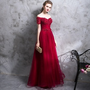 2019 fashion boat neck wedding dressing gown for women ball party wear