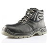 High ankle black leather safety men boots