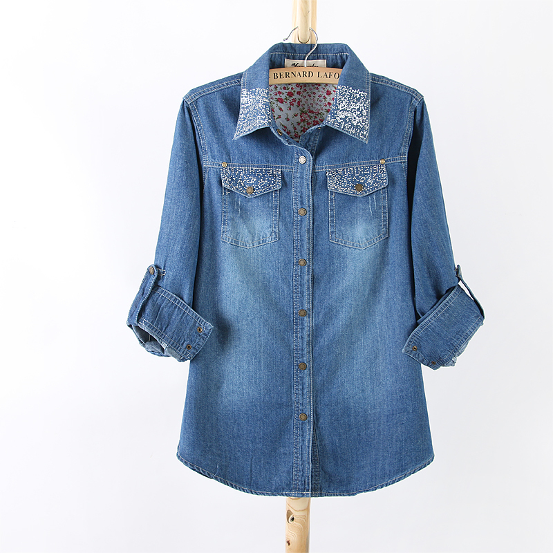 7314c914460 Get Quotations · Ladies Long Sleeve Denim Blouses Fashion Casual Women Blue Denim  Shirts Summer Autumn Cotton Shirt for
