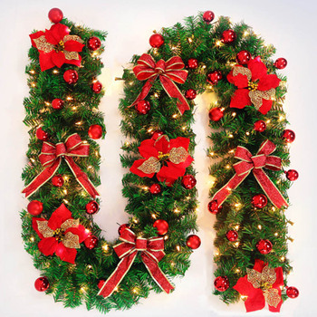 Christmas flower bowknot decorated led pre lit artificial christmas garland