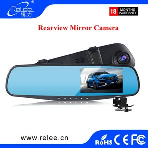 New design 4.3 Inch Car Black Box Dual Lens Video Recorder 1080P HD Car DVR Dash Cam Rearview Mirror Car Camera