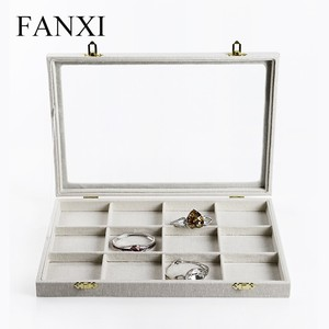 FANXI Custom Shop Counter Organizer Linen Jewelry Cases Ring Necklace Bracelet Holder Tray with Glass Lid Jewelry Case Display
