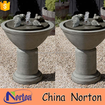 Natural Exquisite Birds Drink Stone Tabletop Fountain NTMF S354X