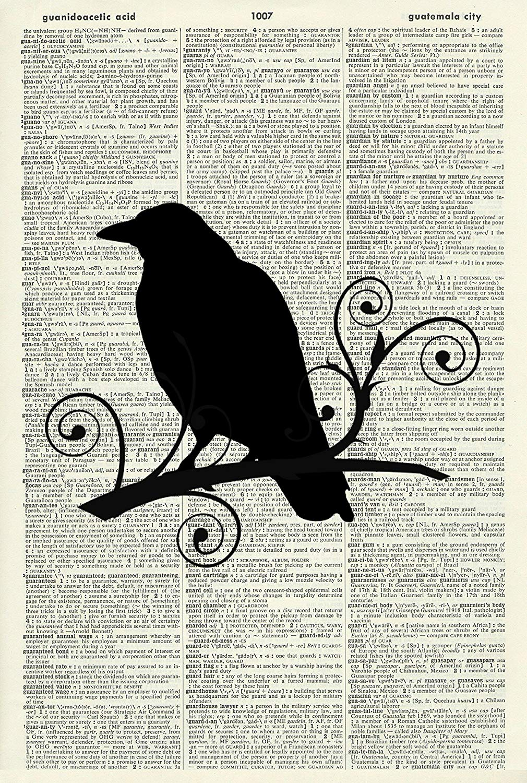 Crow Silhouette - Vintage ART PRINT - BIRD ART PRINT - Illustration - House Art Print - Picture - Vintage Dictionary Art Print - Wall Hanging - Home Décor - Housewares - Book Print 12D