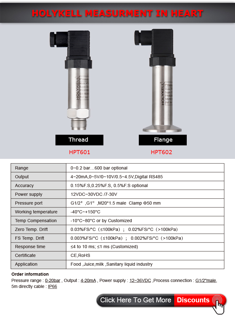 Holykell Factory Milk tank level control ,level sensor Model: HPT601 602
