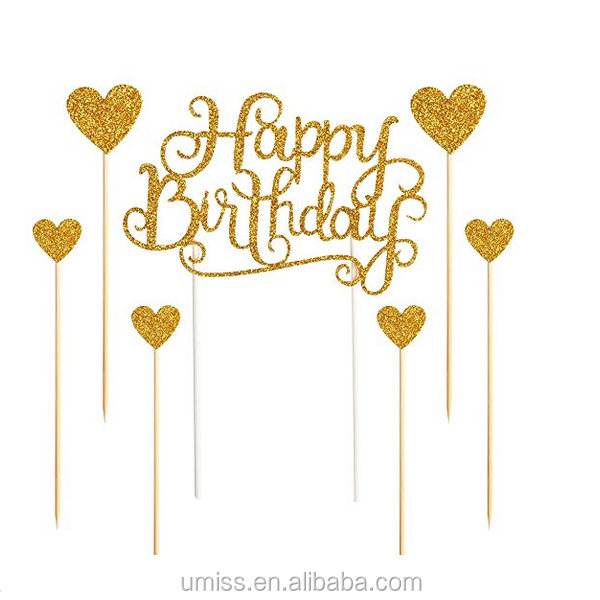 "UMISS PAPER Glitter Letters""Happy Birthday ""and Love Star,Party decor Decorations Happy Birthday Cake Toppers"