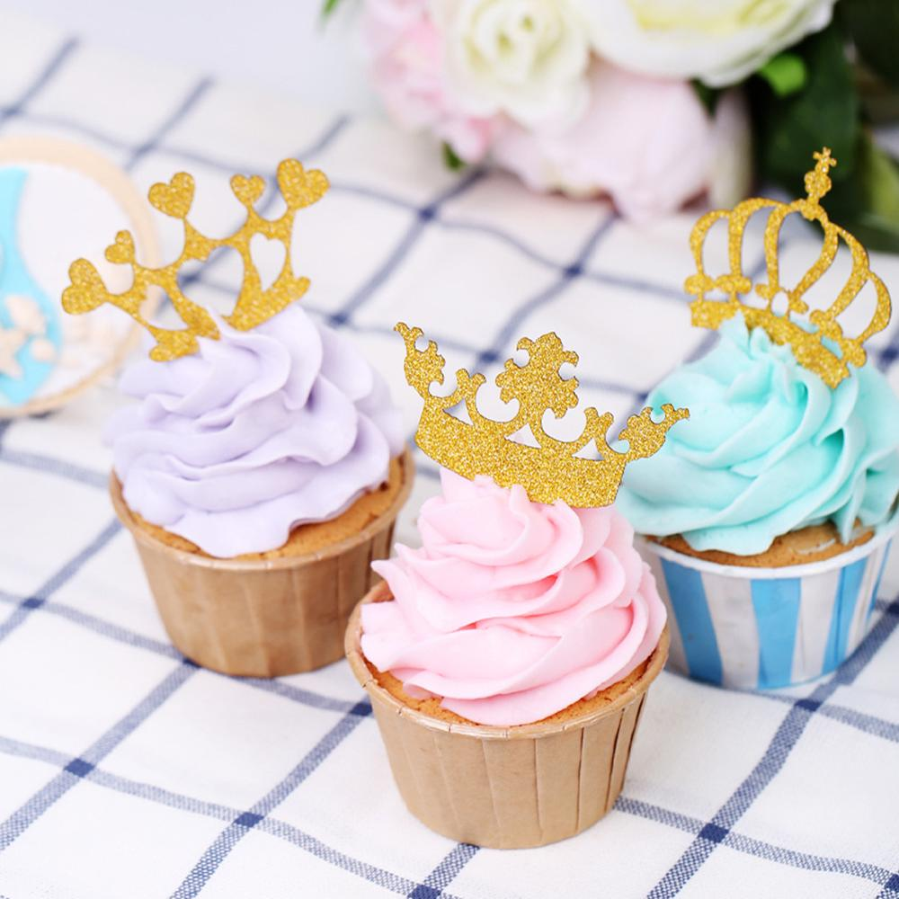 <strong>Wedding</strong>/ Birthday Party Decorations Supplies Insert Lovely Baking Cupcake Toppers Crown Cake Topper