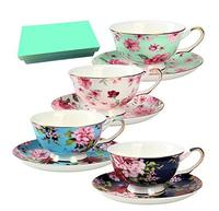 Bone China Tea Cup and Saucer Set with Gift Box Floral Tea Cups, 8 Oz. 1set=1cup+1dish
