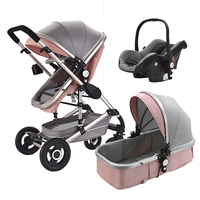 Original manufacture 4 wheel folding baby stroller baby carriage 3 in 1